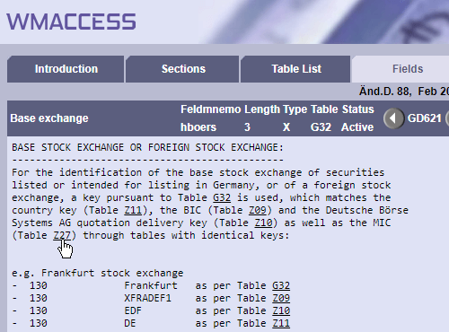 Cross-reference to Table Z27 - MIC (ISO 10383) from the field description GD621 - Base stock exchange or foreign stock exchange