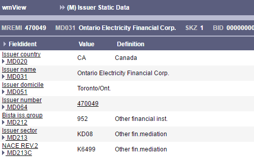 Detail display of current issuer data for issuer number 470049 (issuer for ISIN CA683078DS56)