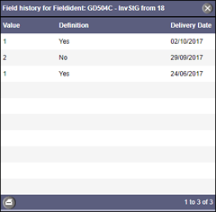 Field history with > 1 hit. Query fee category T4 is charged.