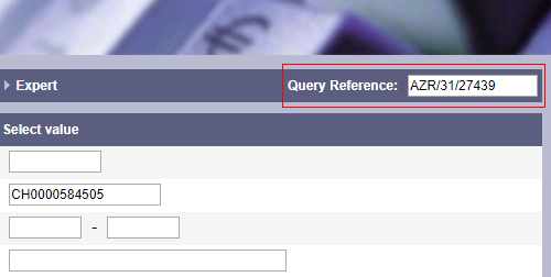 Recording of a query reference, e. g. client number, file number or project number