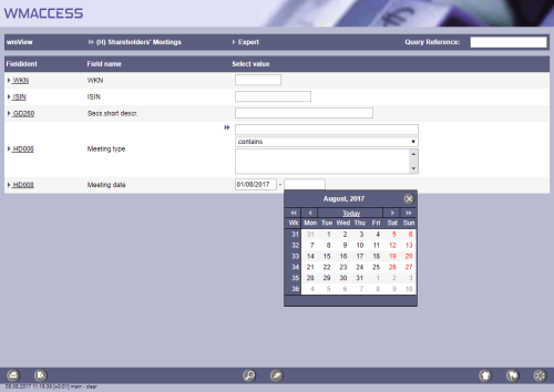 Search for general meetings between May 1, 2011 and a date to be entered. In this example by using the function key 'F9'.